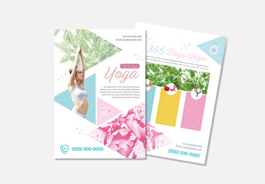 Yoga Flyer Layout with Triangle Elements