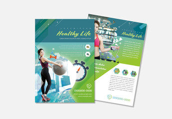 Fitness Flyer Layout With Teal Accents