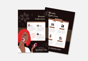 Beauty Flyer Layout With Character Illustration
