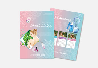 Beauty Flyer Layout With Pink to Blue Gradient