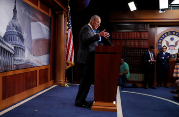 U.S. Senate Democratic leader Charles Schumer speaks to the news media at the U.S. Capitol building in Washington