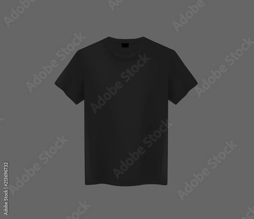 front view of men s black t shirt mock up on dark background short