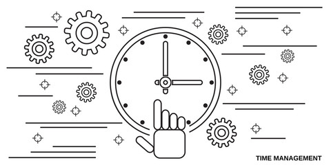 Time management thin line art style vector concept illustration