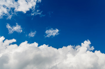 Beautiful fluffy clouds against the blue sky