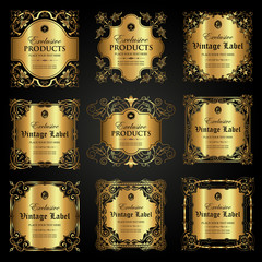 Collection of luxury ornamental gold label in vintage style