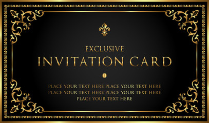 Luxury black and gold invitation card - vintage style