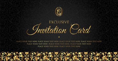 Luxury black and gold invitation card design - vintage style