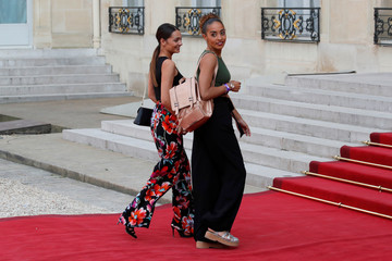 Sarah, companion of France soccer player Corentin Tolisso, and his sister Marine Tolisso arrive for a reception to honour the France soccer team after their victory in the 2018 Russia Soccer World Cup, at the Elysee Palace in Paris