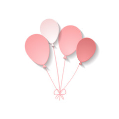 a bunch of paper pink balloons on the white background