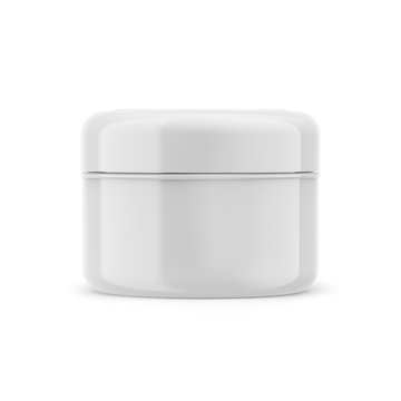 Cosmetic glossy beauty cream jar, 3D white plastic container isolated on a white background, product mockup
