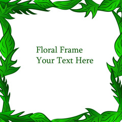 Green leaf bright background, floral ornament frame vector illustration