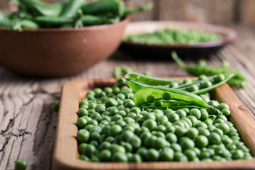 Fresh homegrown green peas