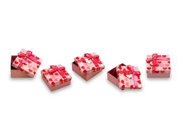 Gift box with red hearts and bow-knot. Valentines Day concept. Isolated, white background.