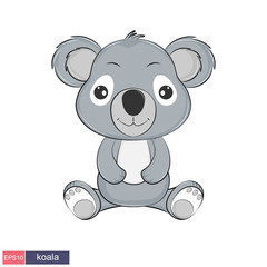 Hand drawn illustration of a cute funny koala.