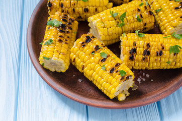 Barbecue of grilled corn