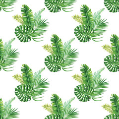 Exotic watercolor jungle bouquettes seamless pattern
