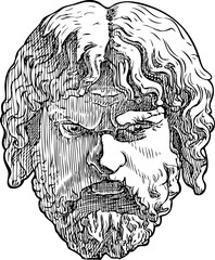 Vector drawing of a classical male mask
