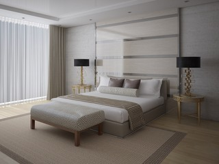 A fashionable bedroom with a large comfortable bed and a fashionable light background.