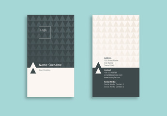 Business Card Layout with Repeating Triangle Elements