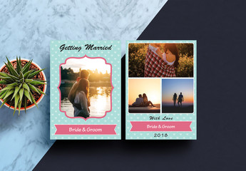 Blue Wedding Anouncement Card Layout with Photo Element