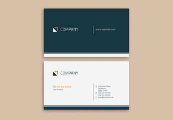 Business Card Layout with Geometric Elements
