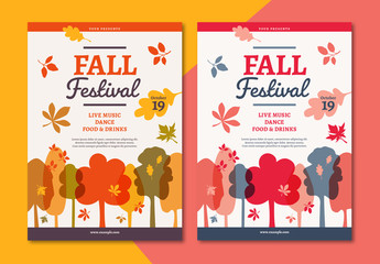Fall Festival Flyer Layout with Autumn-Themed Illustrations