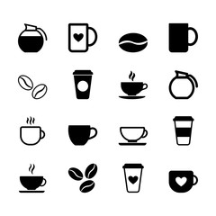 Simple set of flat black coffee icons in vector format