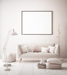Mock up poster in hipster background interior, pastel colored interior, 3d render, 3d illustration
