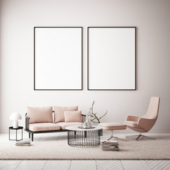 Two posters in hipster interior background, copy space poster, 3d render, 3d illustration