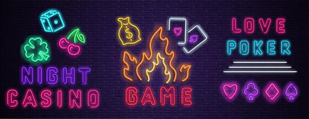 Neon luminous night casino signs on purple bricklaying wall.