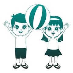 Cute kids with beach ball cartoons vector illustration graphic design