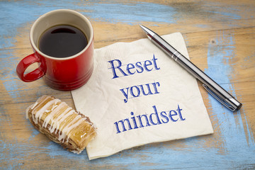 reset your minset advice on a napkin