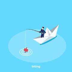 a man in a business suit stands with a fishing rod in a paper boat, an isometric image