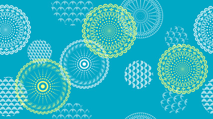 Abstract openwork flowers and circles on a colored background