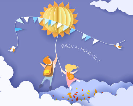 Back to school 1 september card with kids, leaves and sun on blue sky background. Vector illustration. Paper cut and craft style.