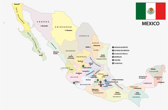 mexico administrative and political vector map with flag