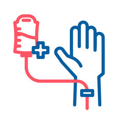 Blood donation donor icon. Vector thin line illustration with human hand and arm sharing blood. Healthy person blood transfusion. Medical and charity subject