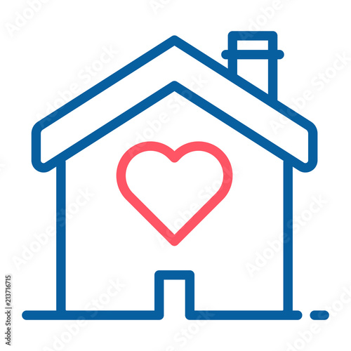 Miraculous House With A Heart Shape Inside Love Home Icon Vector Thin Home Remodeling Inspirations Genioncuboardxyz