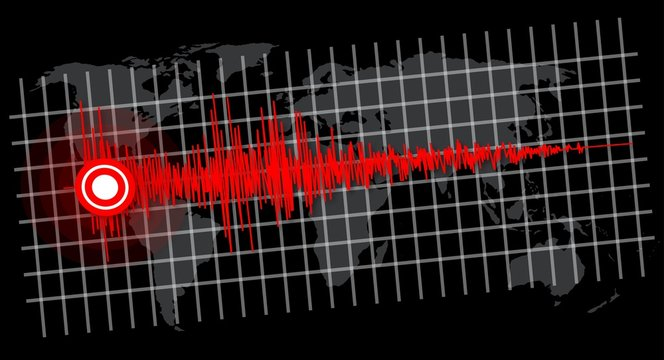 Earthquake - seismic waves on world map -  vector illustration