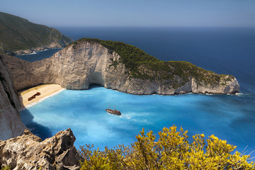 Famous Navagio Shipwreck Beach in Zakynthos, Greece