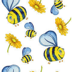 Seamless hand drawn pattern with bees in watercolor style. Can be used as card, banners, paper, decoration of a children's room.