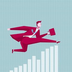 Businessman running,cross the bar chart. The background is blue.