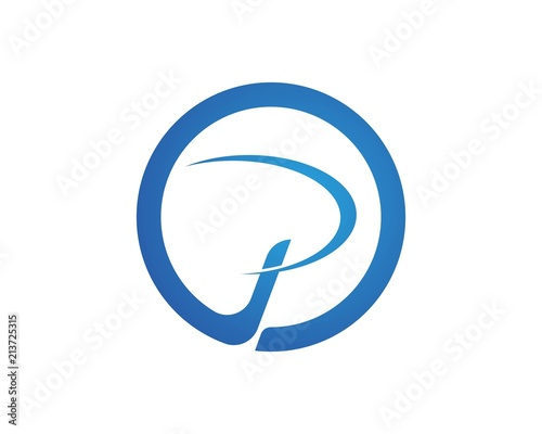 business corporate letter p logo design vector