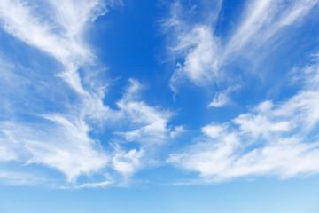 Keuken foto achterwand Hemel Beautiful blue sky over the sea with translucent, white, Cirrus clouds