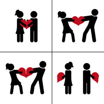 From love to divorce. Couple with broken heart. Relationship concept. Vector silhouettes.