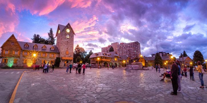 Civic Center (Centro Civico) and main square in downtown Bariloche at sunset - Bariloche, Patagonia, Argentina