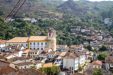 View of the old colonial city of Ouro Preto among the mountains in Minas Gerais, Brazil