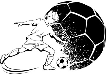 Soccer Boy Kicking with Grunge Soccer Ball Background