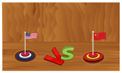 America vs china on wood background