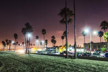LOS ANGELES, USA - OCTOBER, 2013: Purple sunset in Newport Beach, California